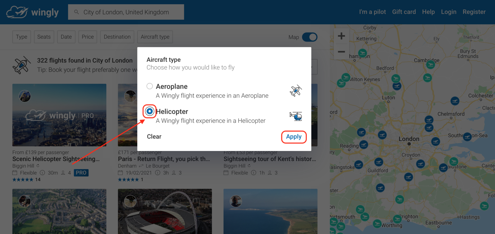 You can choose to filter to either just helicopter or just plane flights