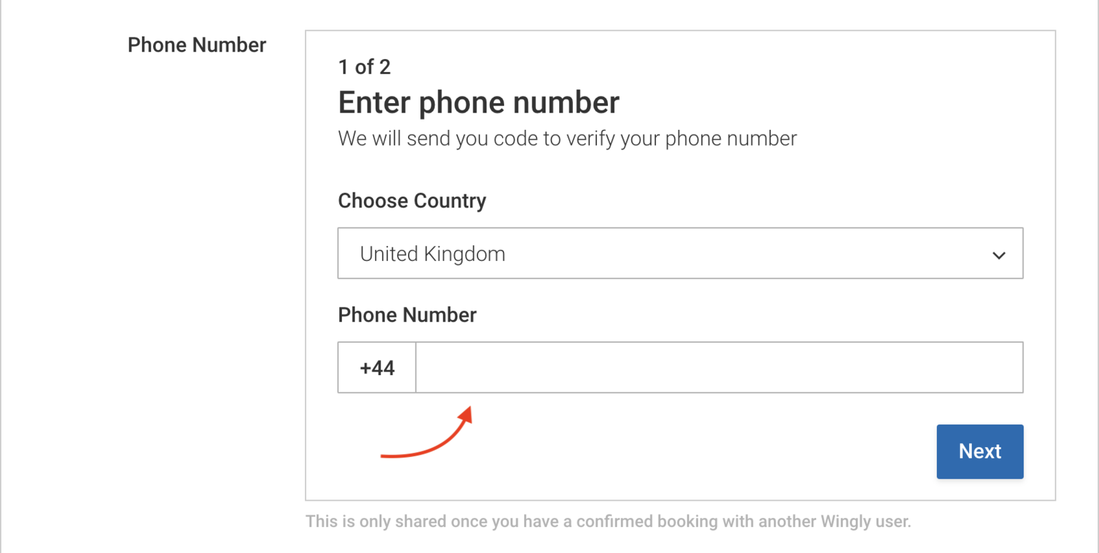 Enter your country and mobile number when prompted