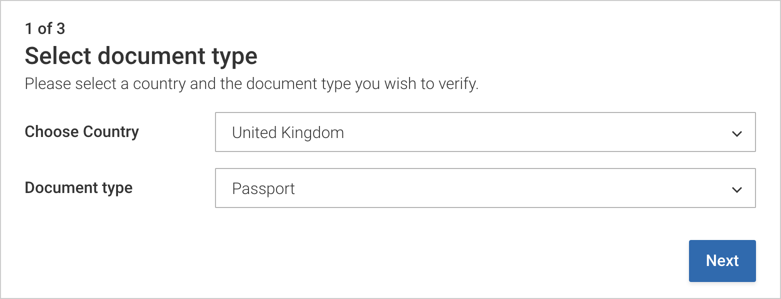 Select your country and document type when prompted
