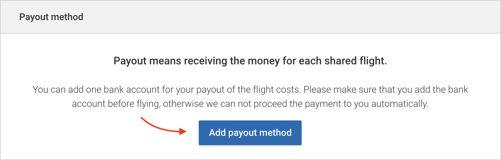 Click to add a payout method