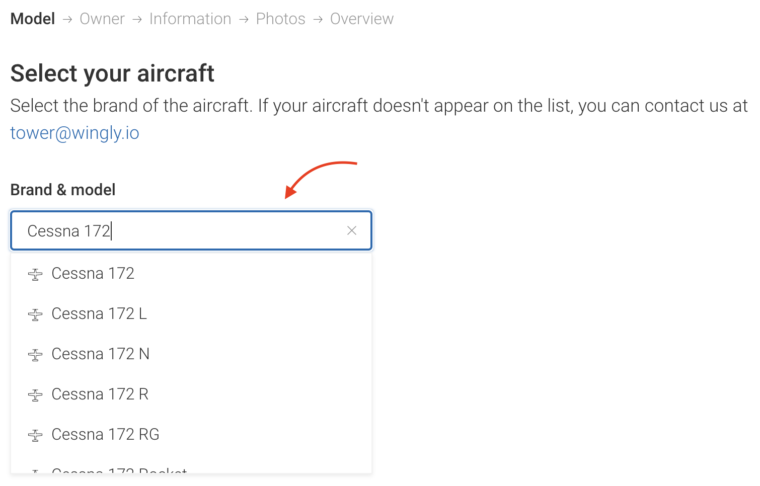 Input your aircraft's brand, followed by the model. Choose the most relevant option from the dropdown menu