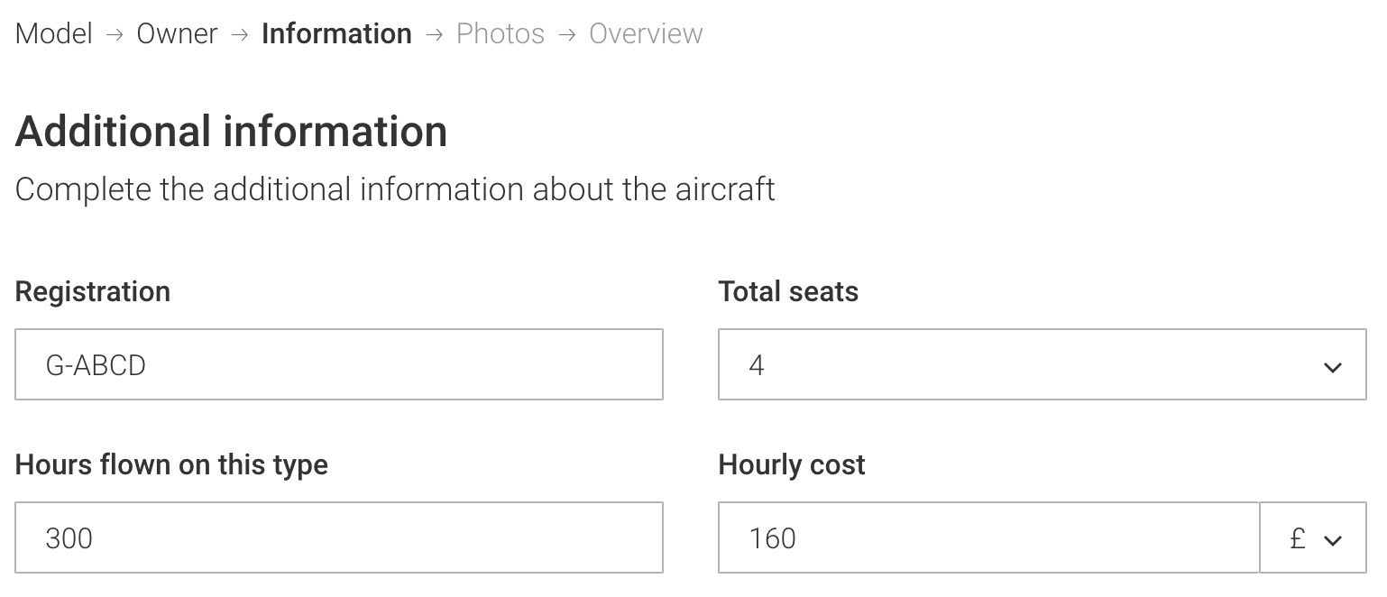 Input any additional info about your aircraft. 'Hourly costs' can cover rental fees, or hourly fuel + oil costs if you own the aircraft