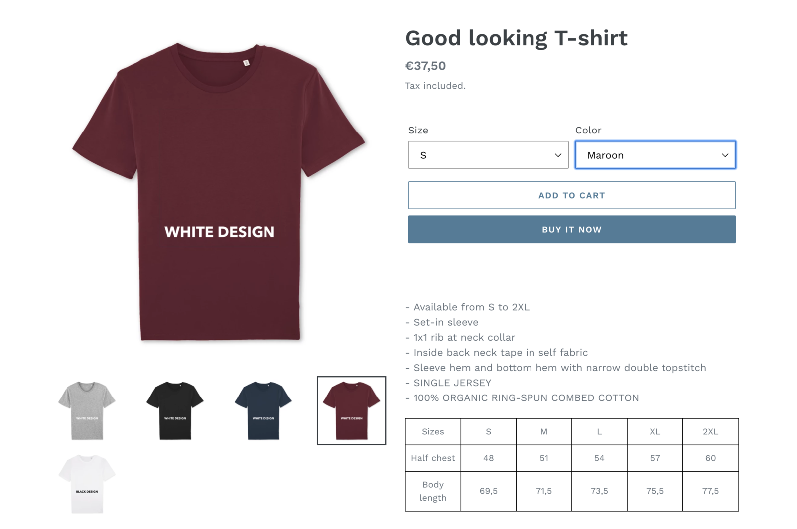 Final product on your webshop