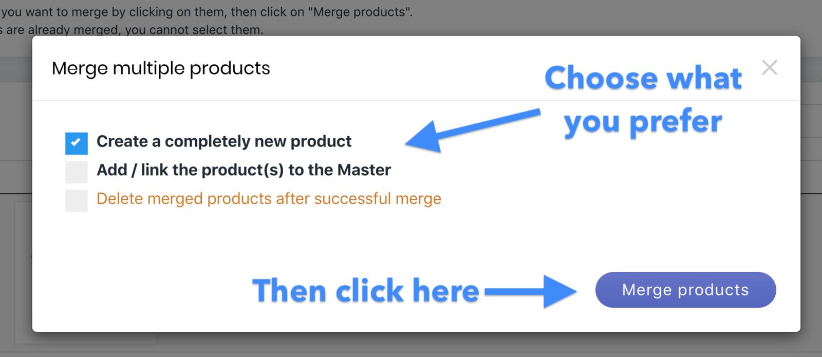 Choose the merge behavior
