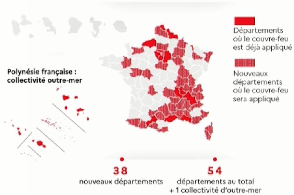 Carte au 22 octobre 2020 des départements placés sous couvre-feu.