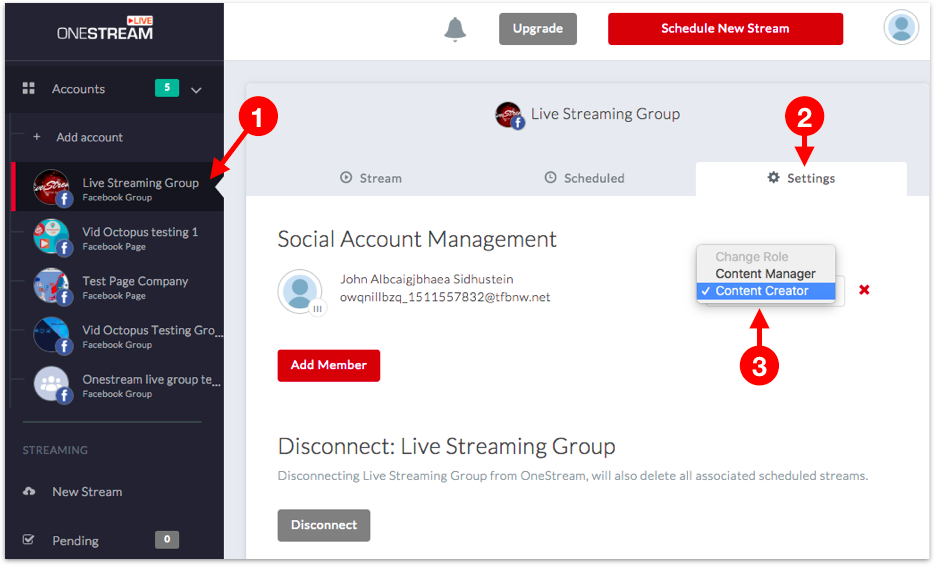 Change Role from Social Account Settings
