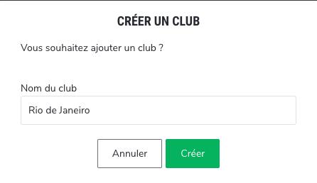 Ajout du club