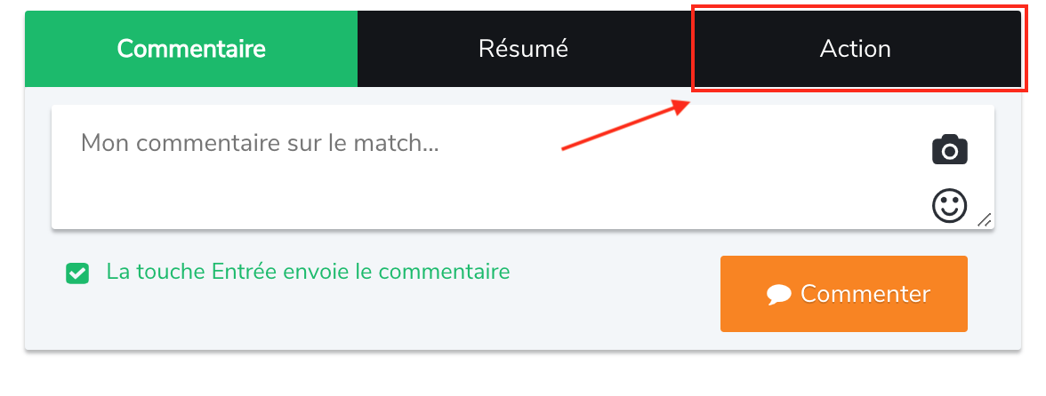 "Bouton ""Action"" sur le site internet"