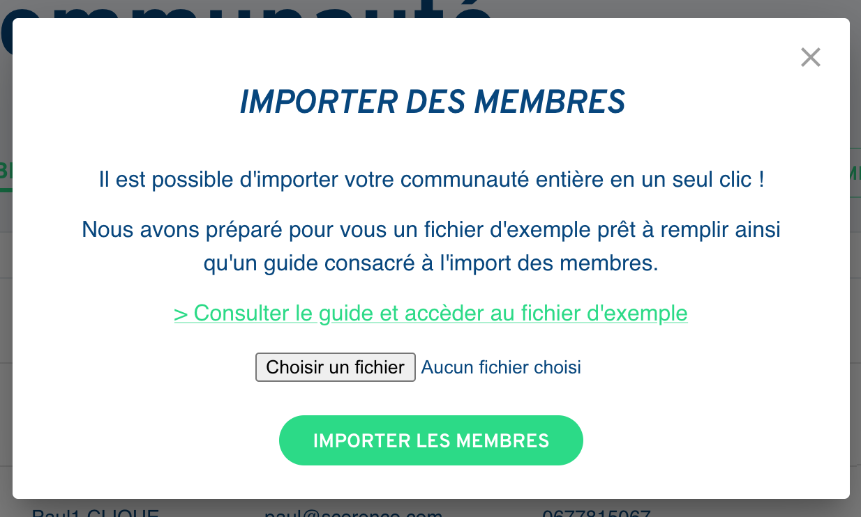 Onglet Communauté - Importer - Score'n'co