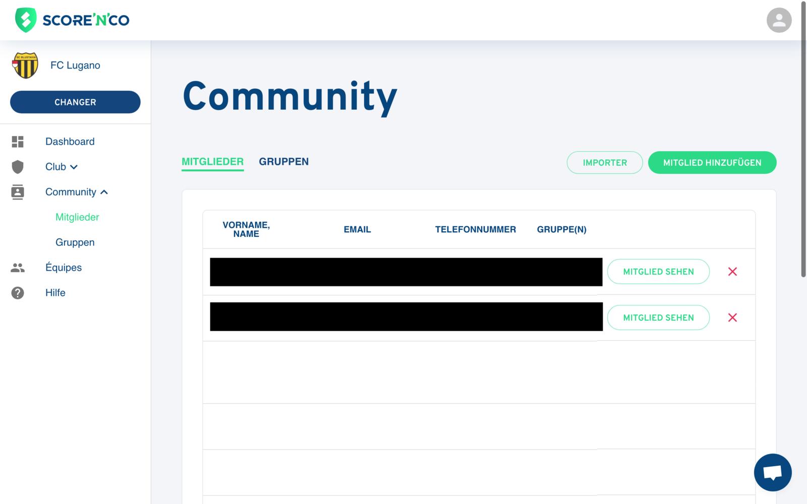 Bereich Gemeinschaft - Registerkarte Mitglieder - Score'n'co