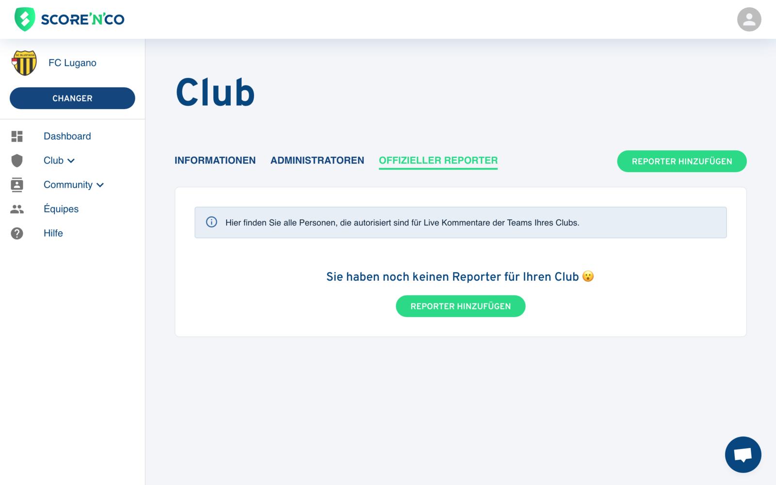"Gemeinschaftsbereich - Registerkarte ""Reporter"" - Score'n'co"