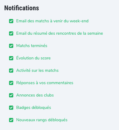 Liste des notifications