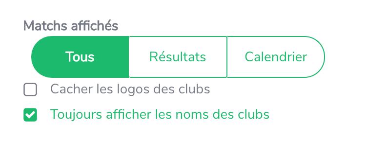 Option permettant d'afficher le nom des clubs plutôt que le nom de l'équipe