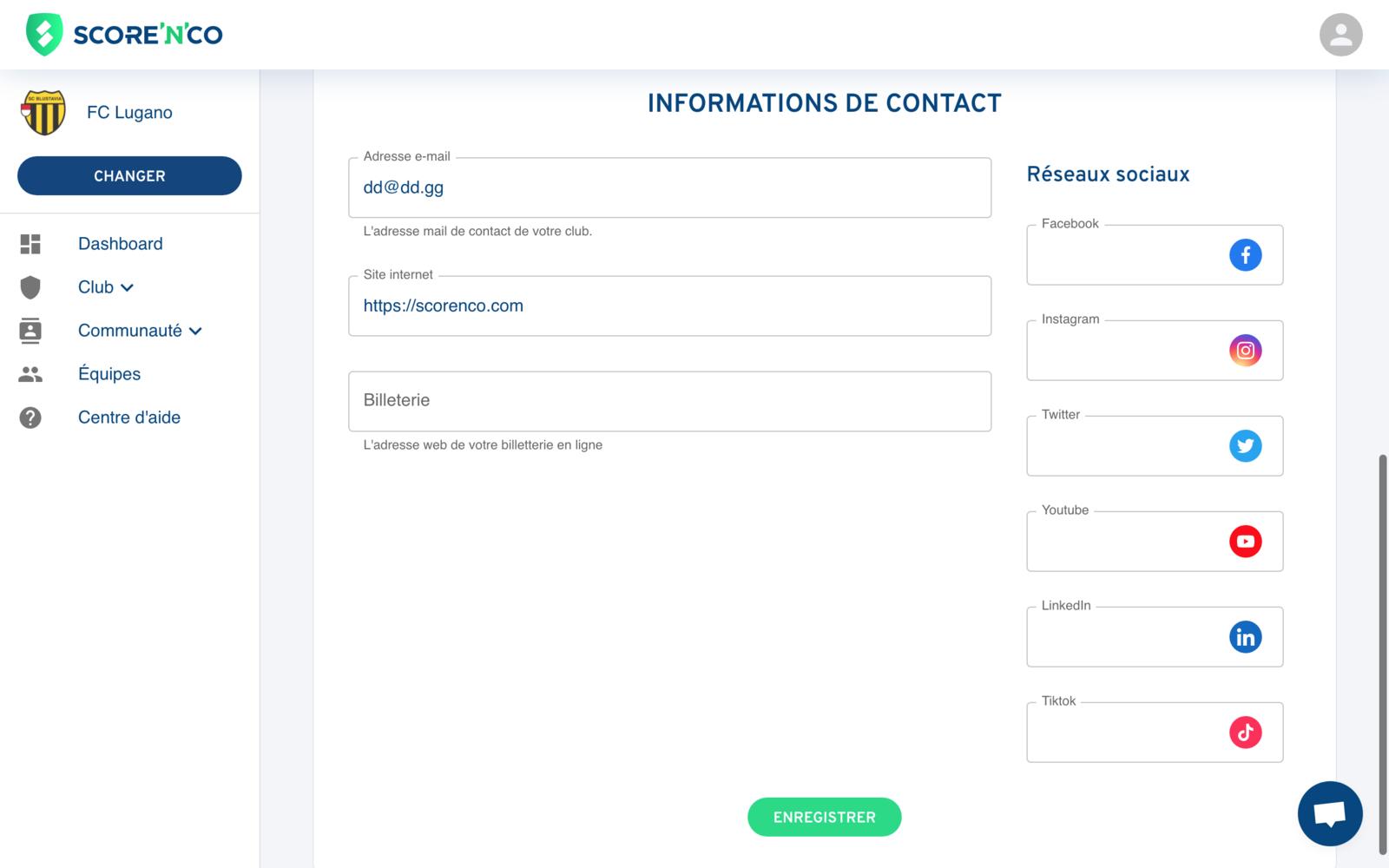 Rubrique Club - Onglet Informations de contact - Score'n'co