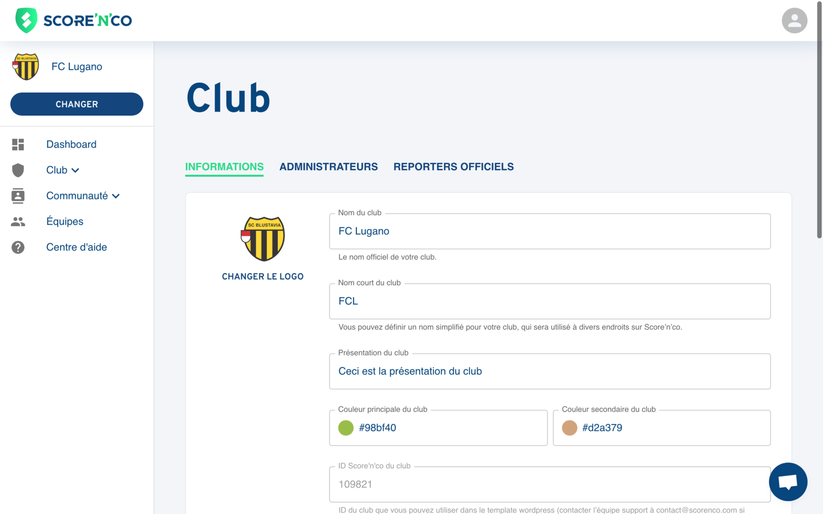 Rubrique Club - Onglet Informations - Score'n'co