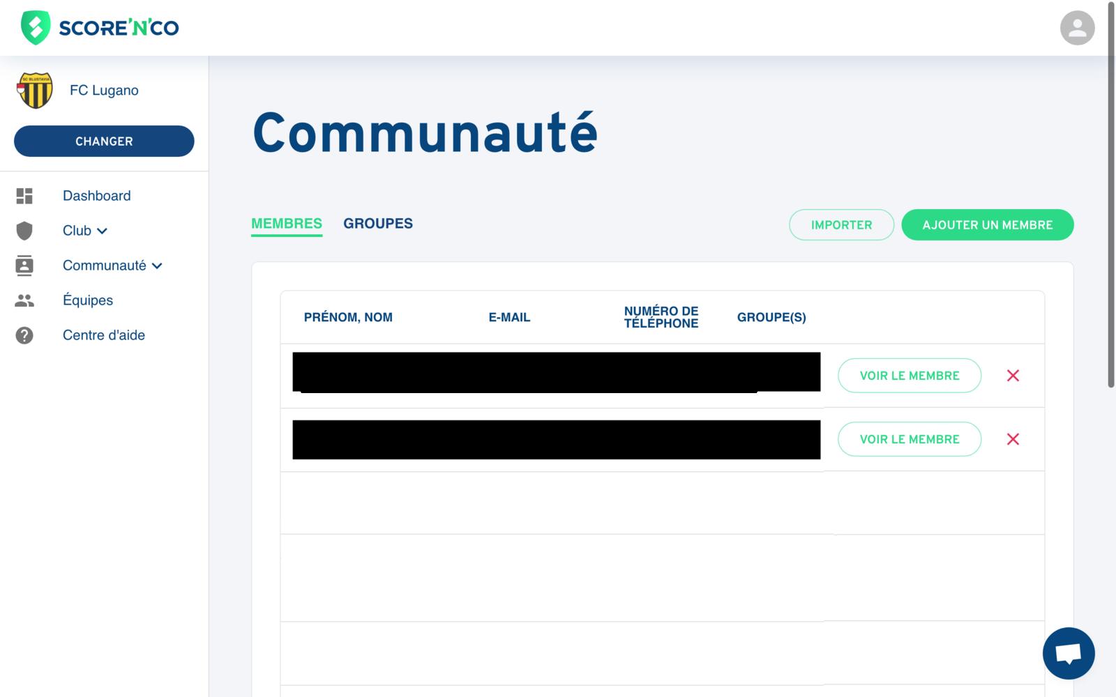 Rubrique Communauté - Onglet membres - Score'n'co