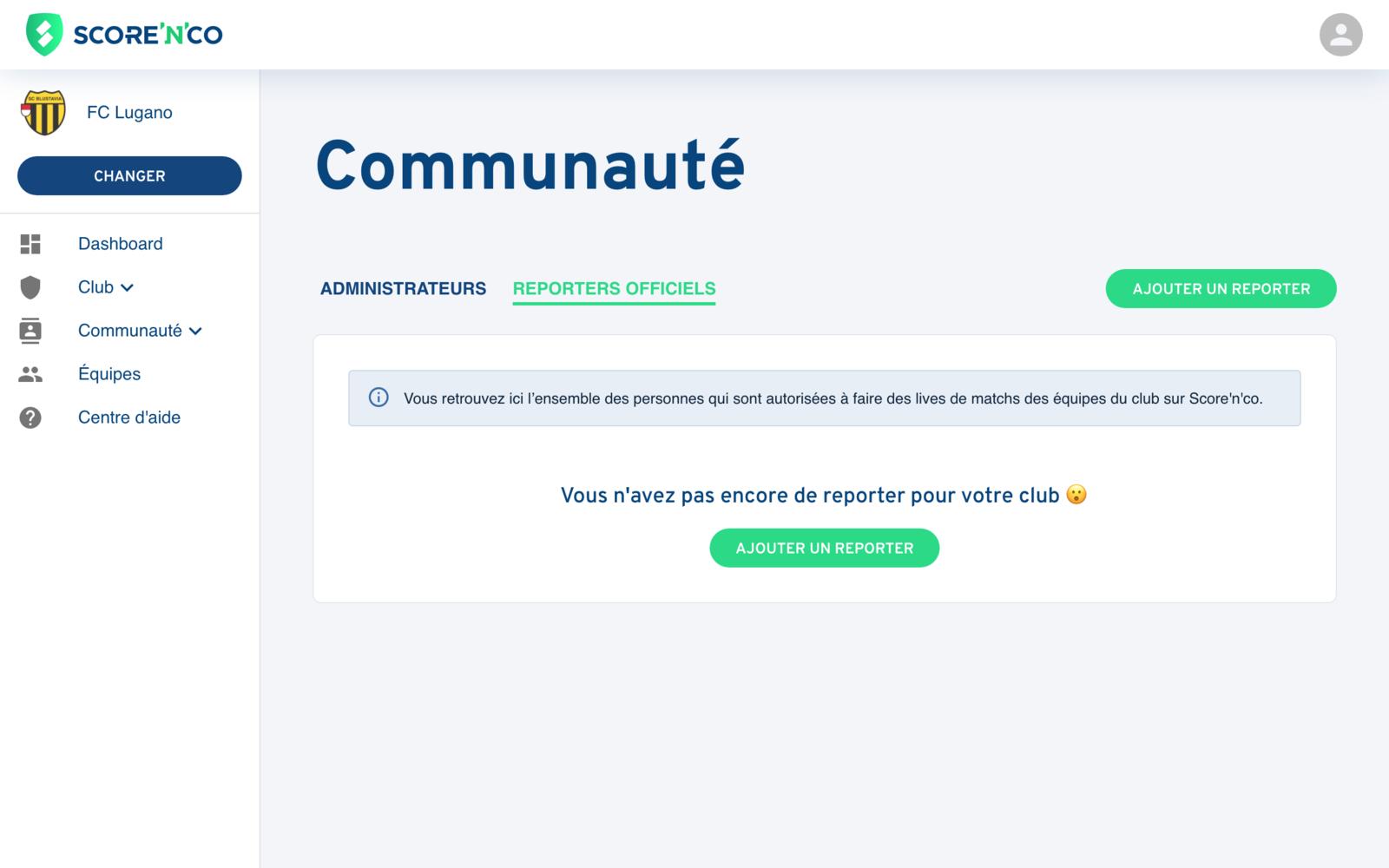 Rubrique Communauté - Onglet reporters - Score'n'co