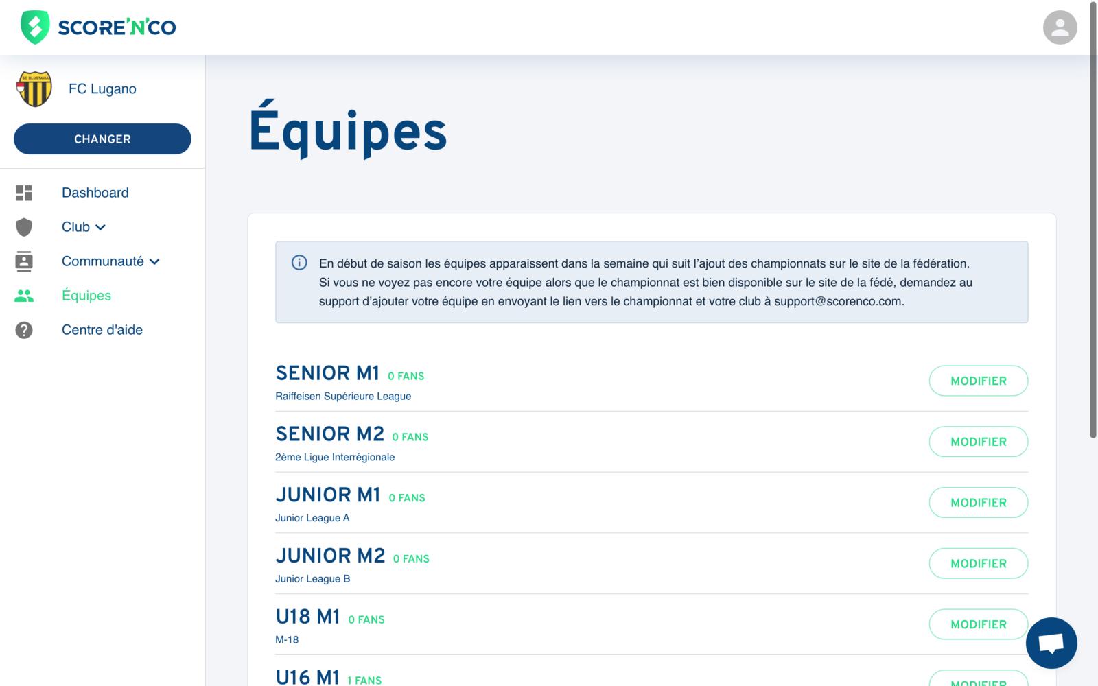 Rubrique Équipes - Listes des équipes - Score'n'co