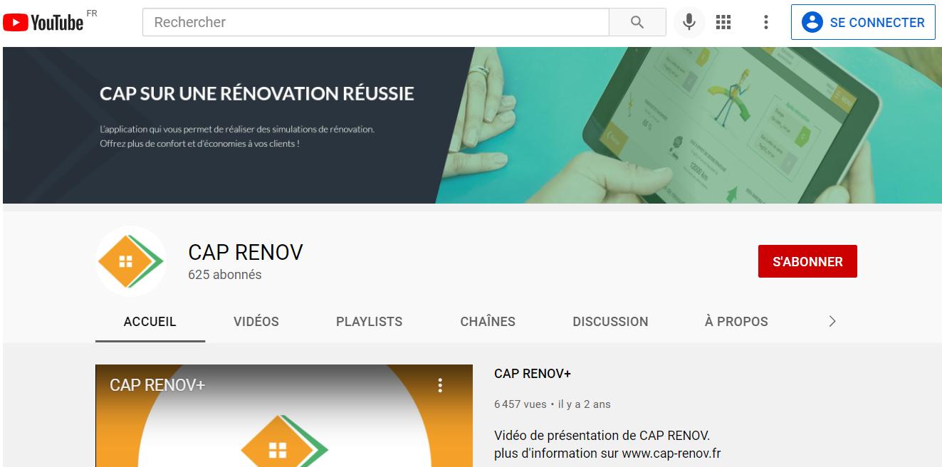 aperçu de la chaine Youtube CAP RENOV