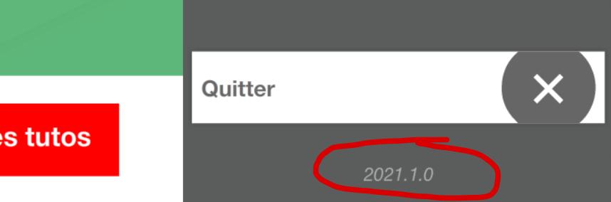 Le numéro de version à l'accueil de l'application