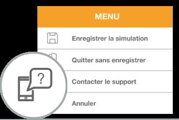 la fonction contacter le support est accessible depuis le menu