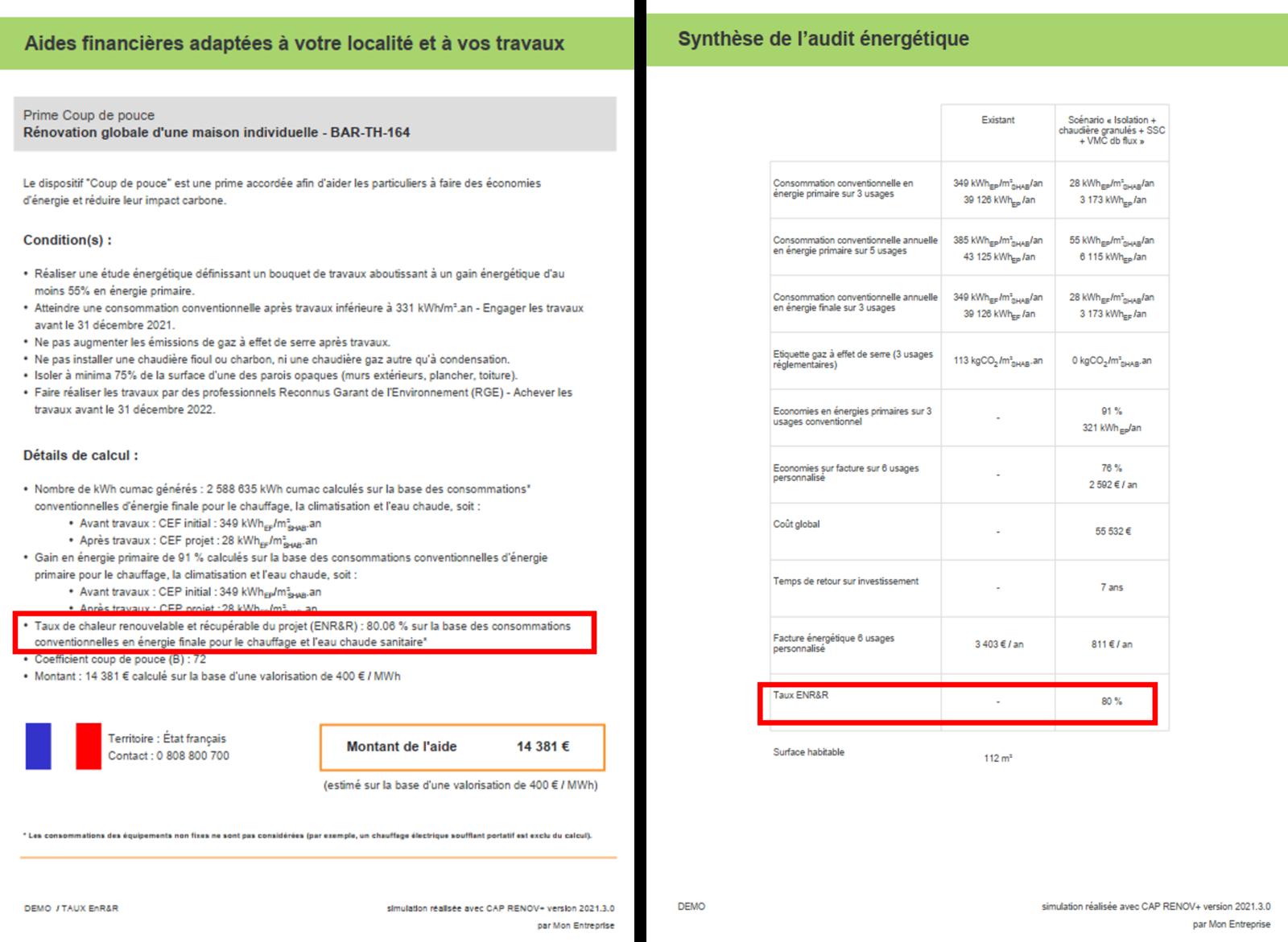 Indications du taux d'ENR&R sur le rapport PDF