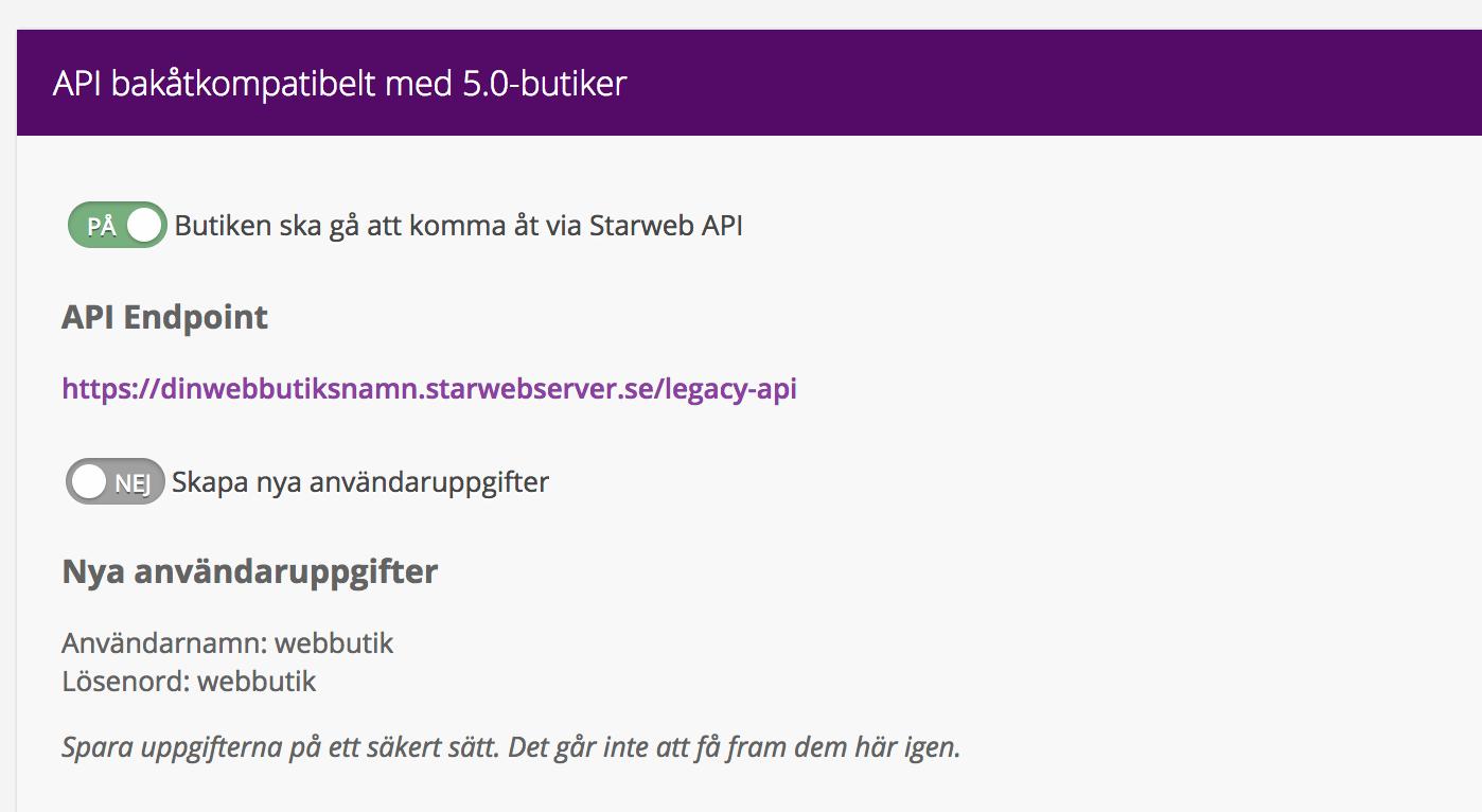 Starweb API uppgifter
