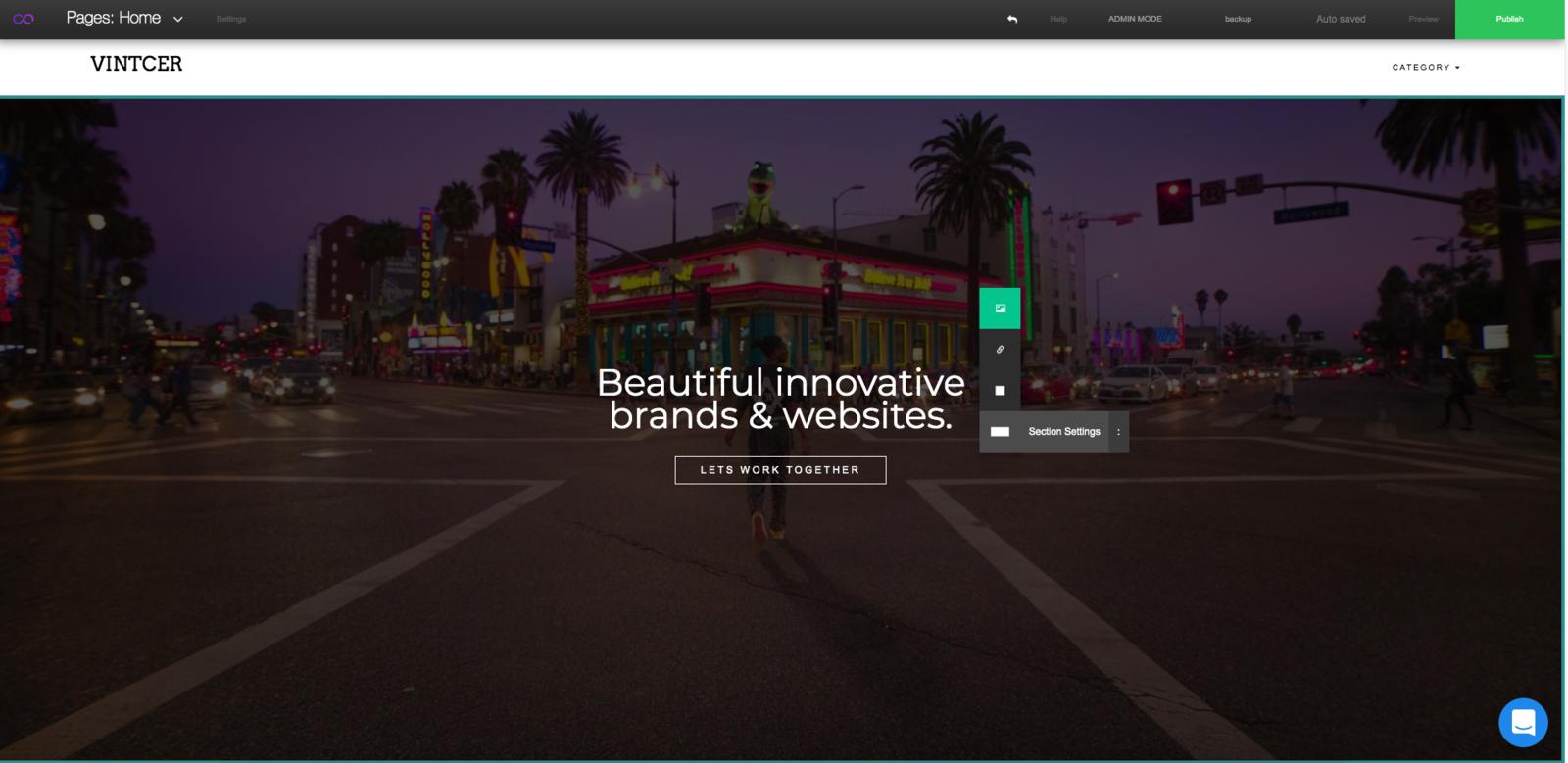 VINTCER website builder editor