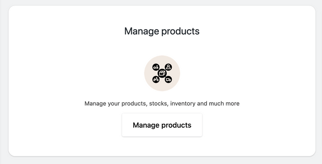 Click on the Manage products button