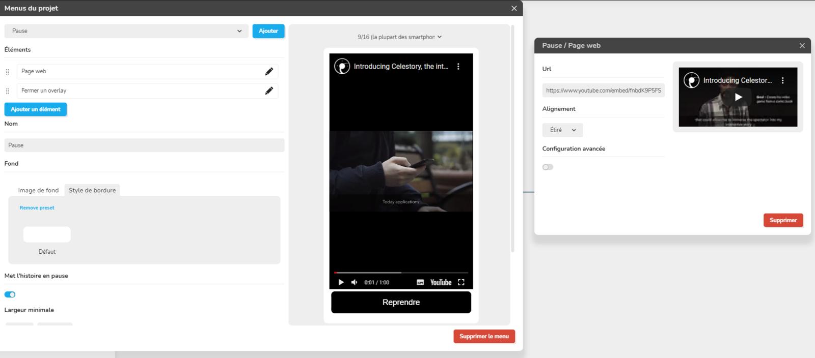 celestory webview element youtube