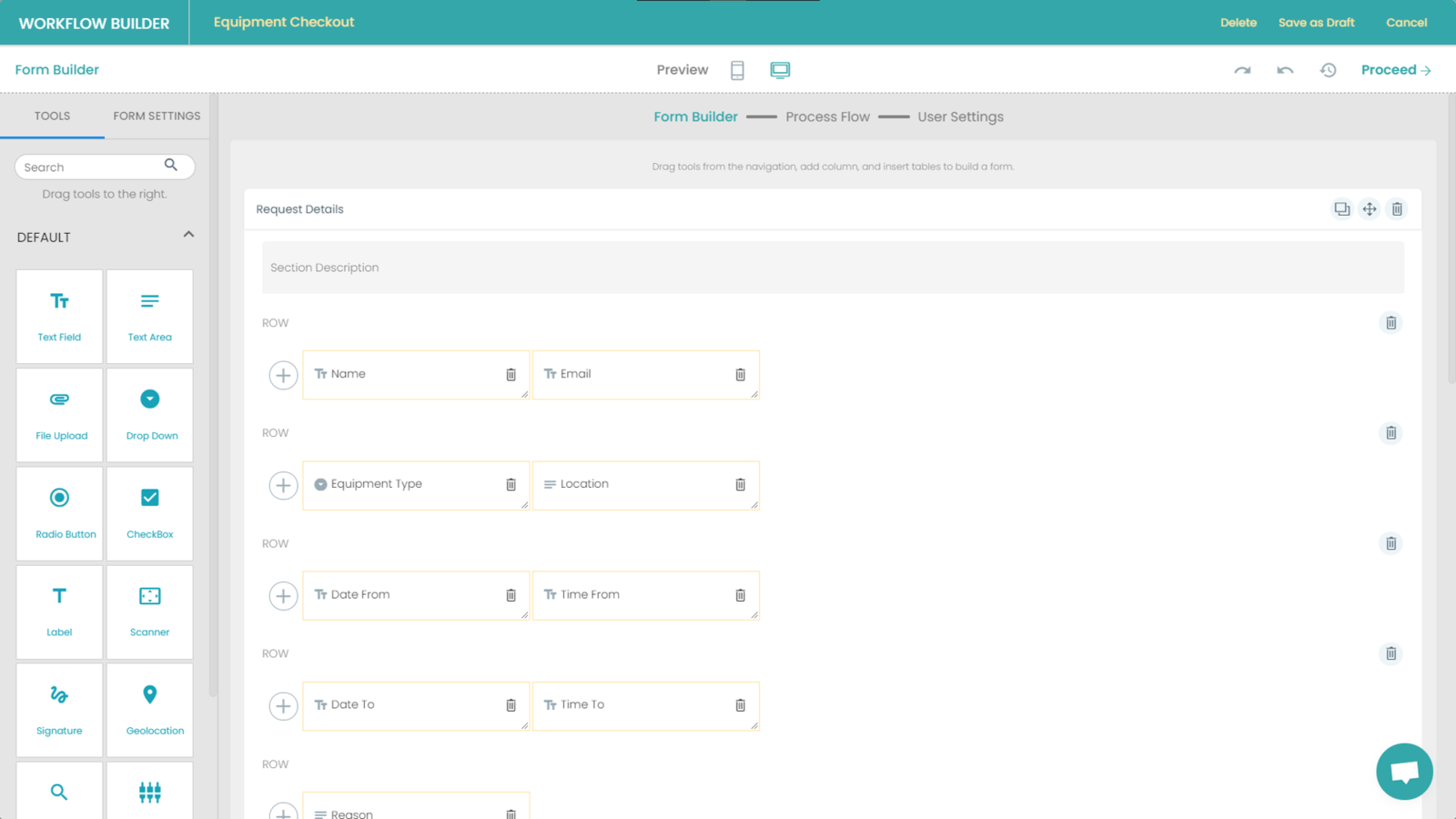 Fig. 3: Equipment Checkout Form Builder preview