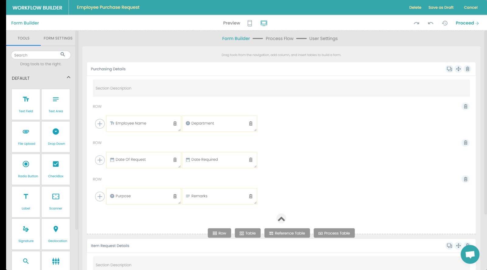 Fig. 3: Requisition Management Form Builder preview