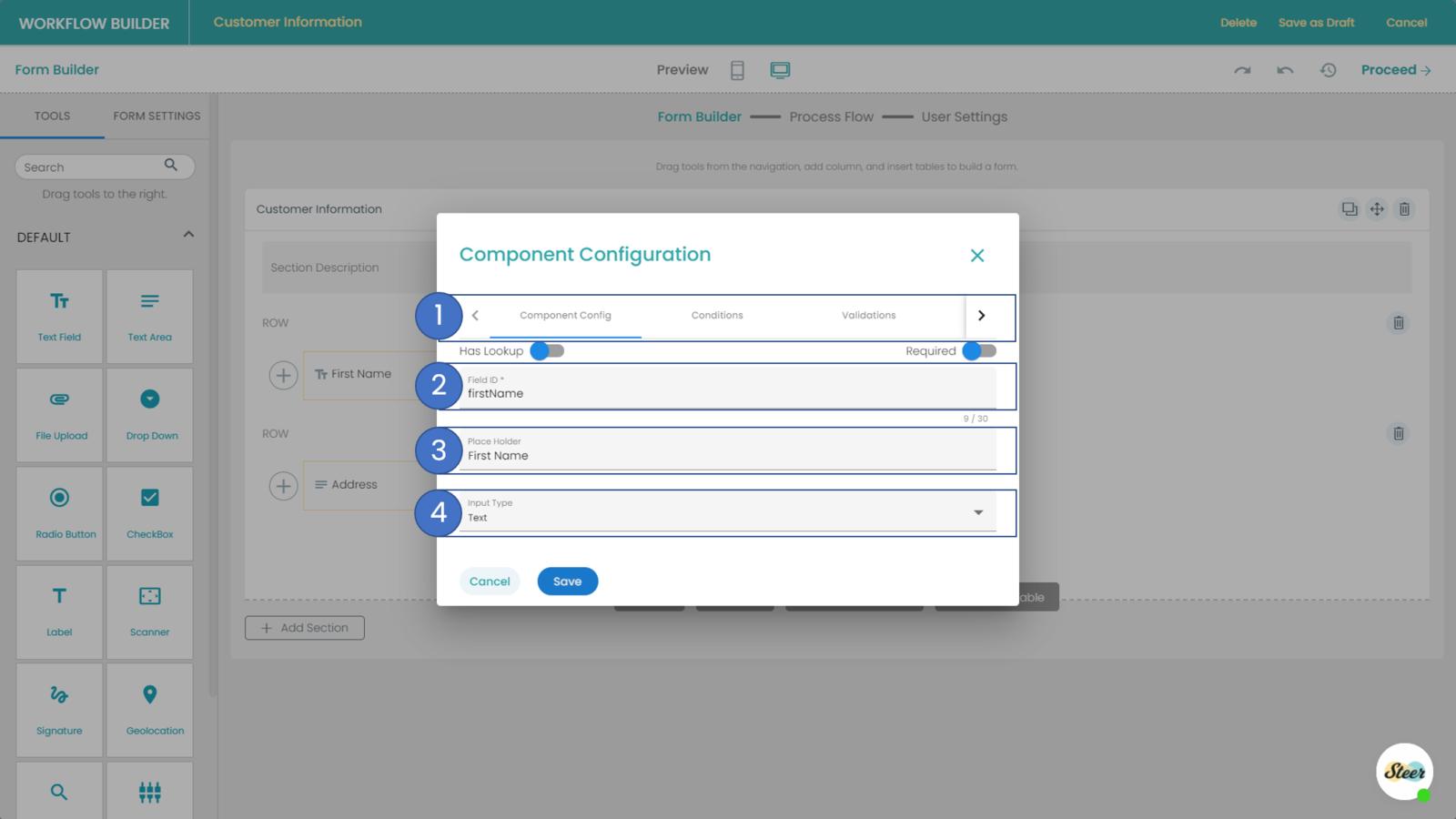 Component Configuration settings