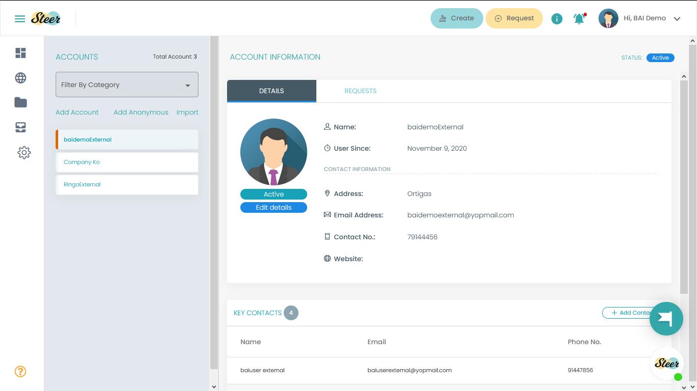 External User Account Information