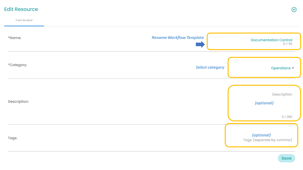 Fig. 2.2: Renaming the Workflow Template name