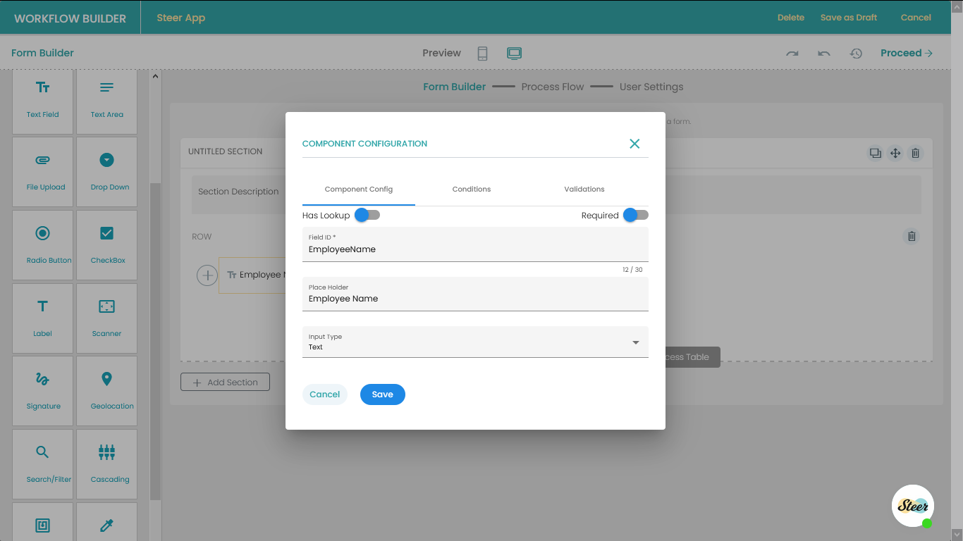 Text Field Configuration Settings
