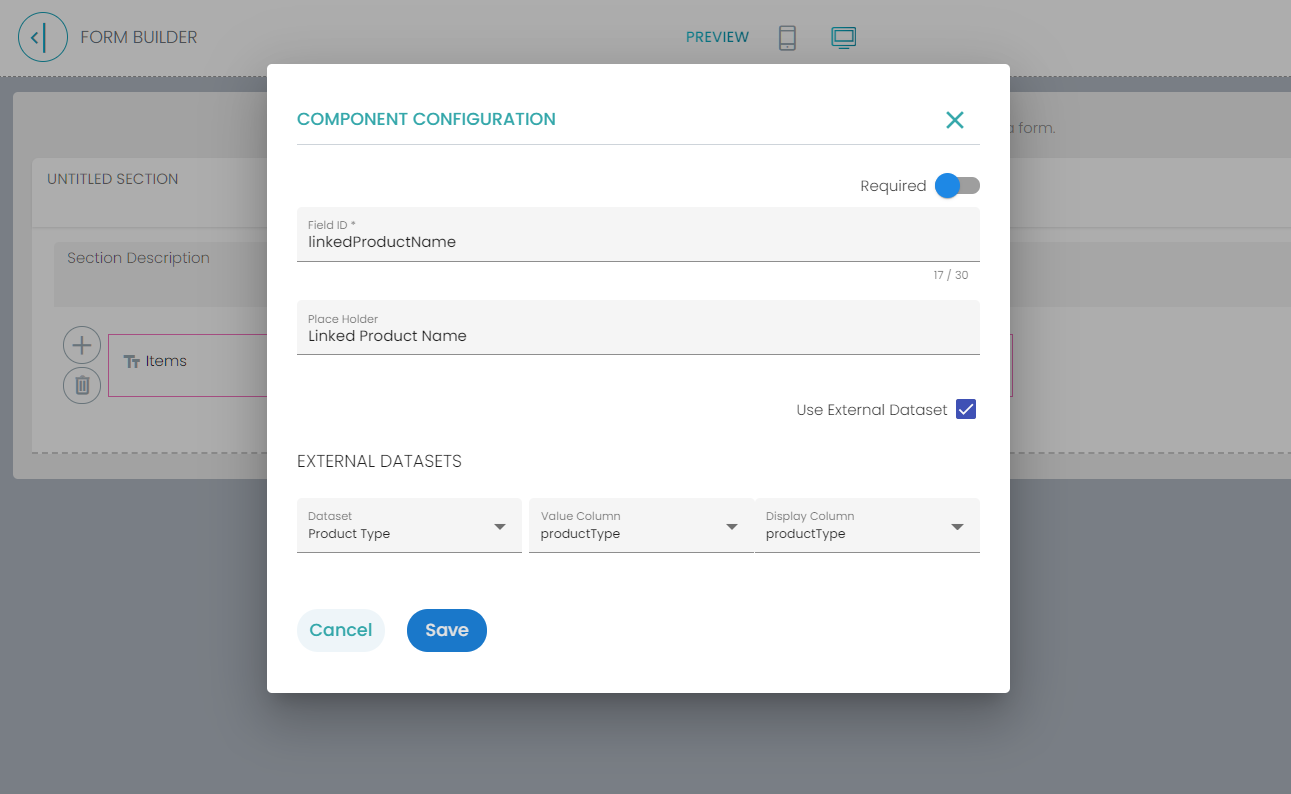 Linked Name field configuration