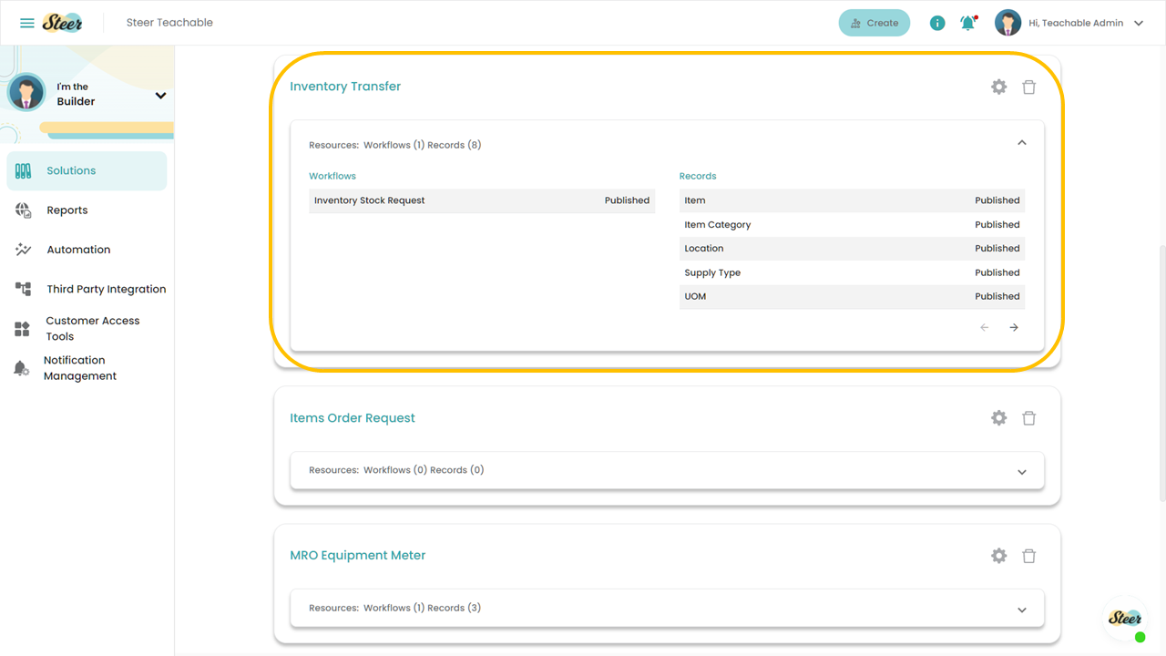 Fig 6: Viewing a Solution from the Steer dashboard