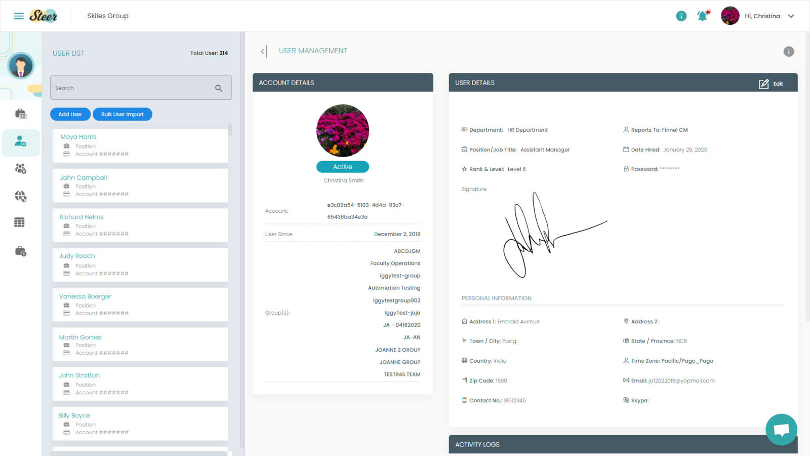Admin User Management page