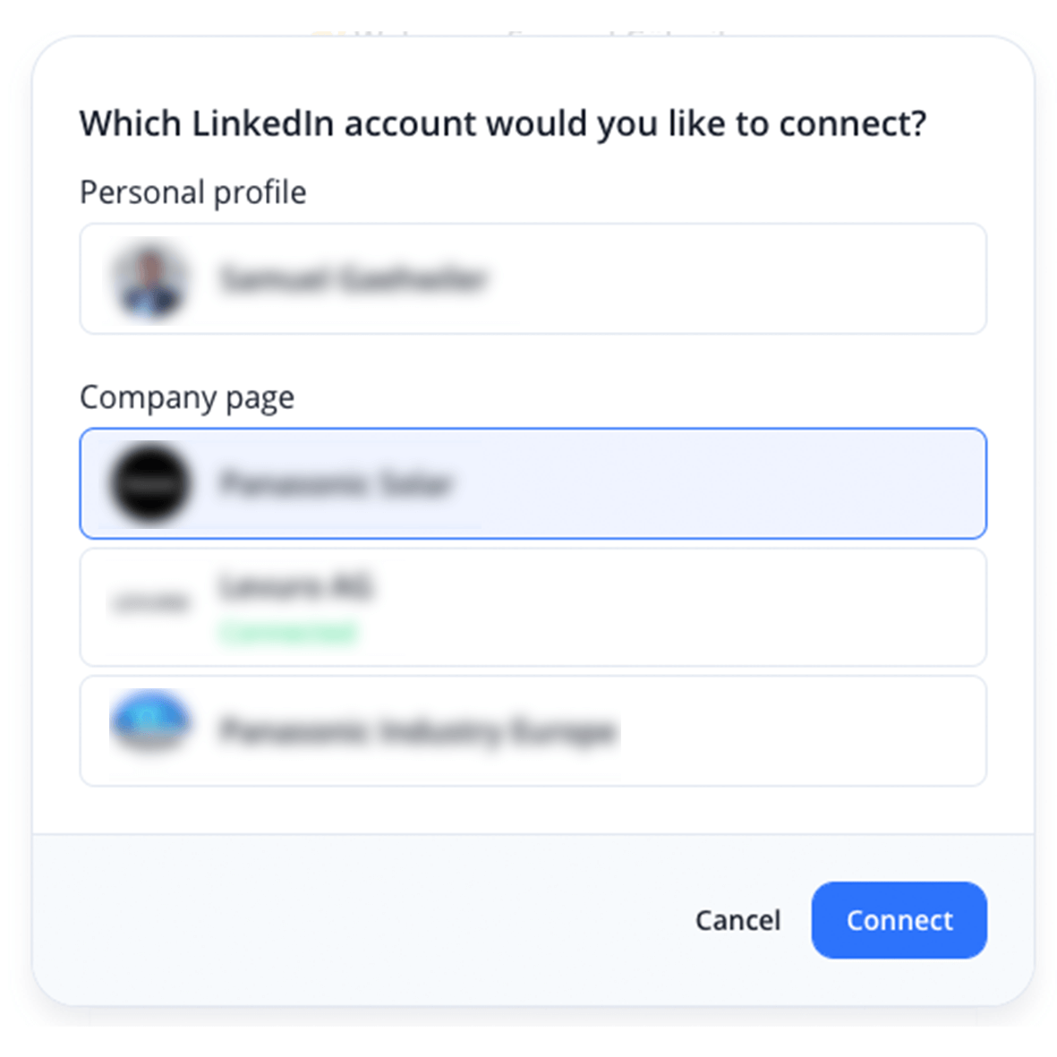 Select profile or company pages