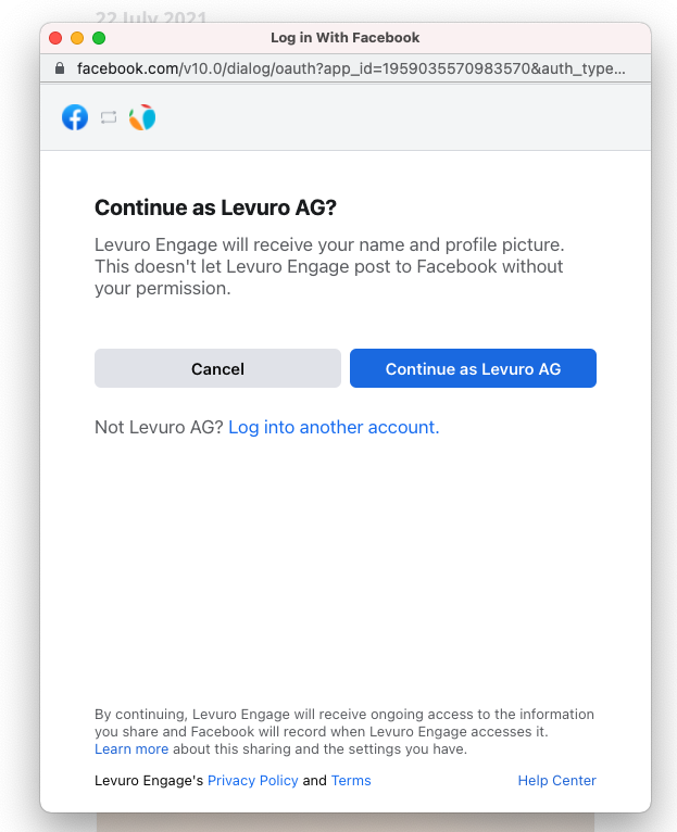 Log in with your personal profile
