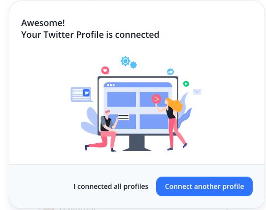 Success message connect Twitter profile