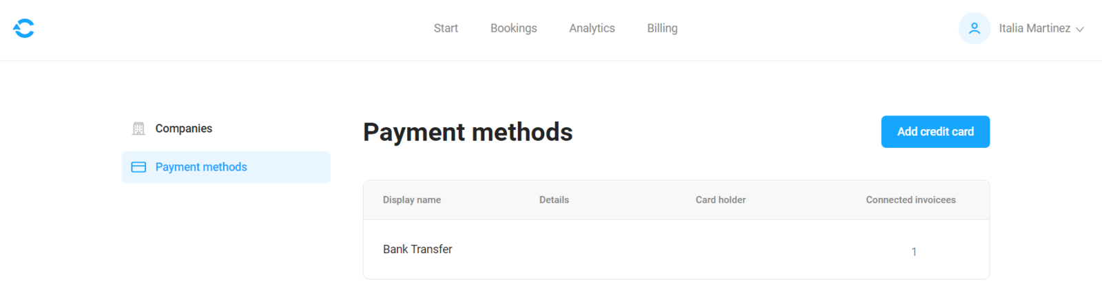 Payment methods page