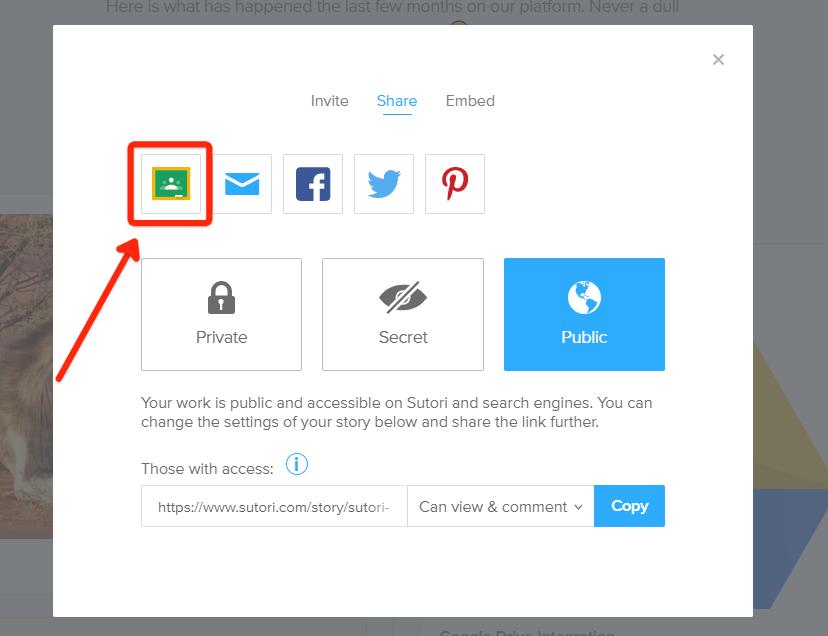 """1. En la pestaña """"Compartir"""", los alumnos hacen clic en el icono de Google Classroom."""