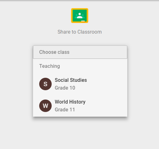3. Elija la clase con la que desea compartir la tarea.