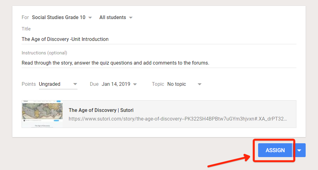 """5. Lo que aparece después de elegir """"Crear tarea"""". Observe cómo puede editar el título de la tarea, añadir instrucciones y poner una fecha de vencimiento."""