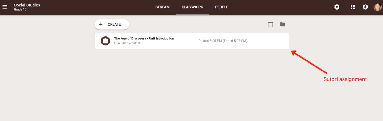 """6. La tarea aparece en la sección """"Trabajo de clase"""" en la página específica de la clase a la que los estudiantes pueden acceder."""