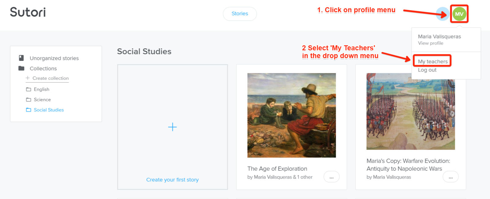 First, access the page to add your teacher