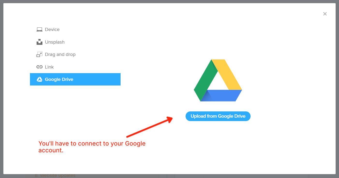 Válassza a Google Drive lehetőséget a médiafájl feltöltésekor.