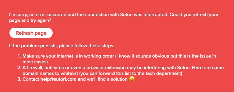 Red Error Message on Sutori